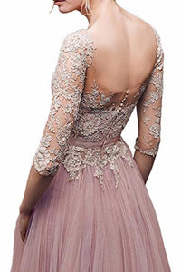 Elegant Lace Floor Length 3/4 Sleeve Tulle Waistband Evening Ball Gowns Long Dress
