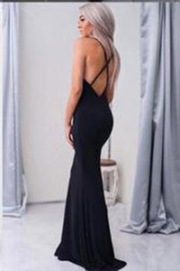 New Arrival Simple Halter Black V-Neck Criss Cross Sleeveless Mermaid Long Prom Dresses RS770