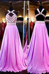 High Quality A-line Chiffon Halter Sleeveless Open Back Prom Dresses PG298