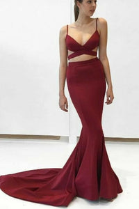 Sexy Spaghetti Straps Burgundy Mermaid Sheath Long Simple Cheap Prom Dresses