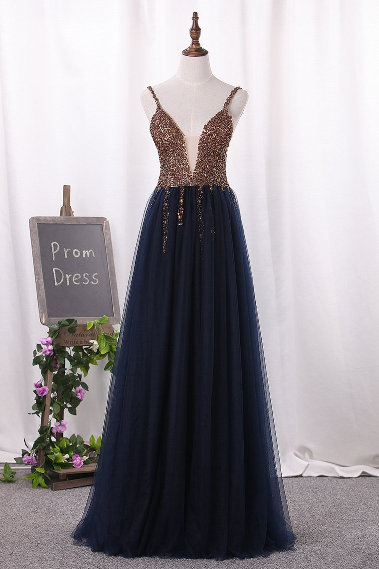 2019 New Arrival Prom Dresses Spaghetti Straps Tulle A Line Zipper Up