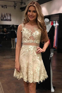2019 Homecoming Dresses A Line Scoop Tulle With Applique And Handmade Flowers