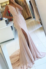 Load image into Gallery viewer, 2019 V-Neck Mermaid Chiffon Prom Dresses With Beads And Slit Open Back