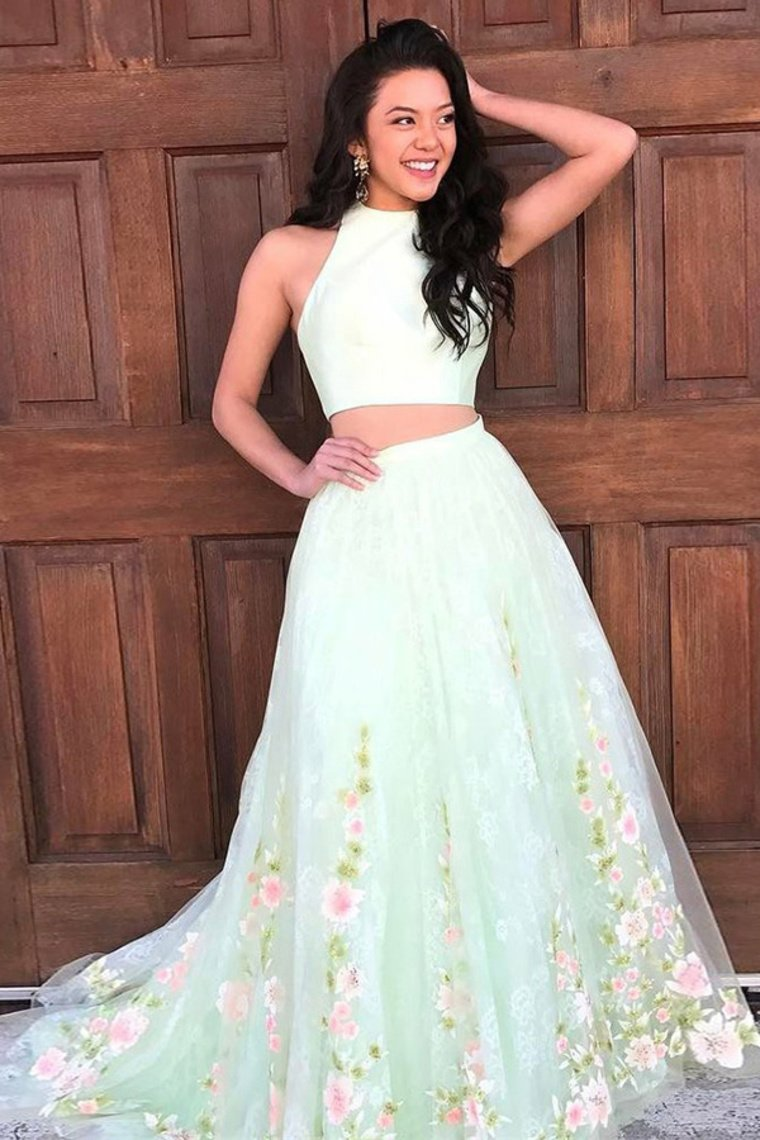 Newest 2 Pieces Long Flowy Sage Prom Dresses For Girls