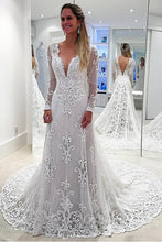 Load image into Gallery viewer, V-Neck Long Sleeves Mermaid Open Back Sheath Lace Modest Wedding Dresses