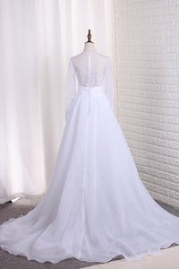 2019 Wedding Dresses Scoop Long Sleeves Tulle & Organza With Applique Sweep Train Detachable