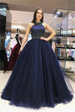 Load image into Gallery viewer, Ball Gown Long Navy Blue Beading Tulle Princess Prom Dresses Quinceanera Dresses