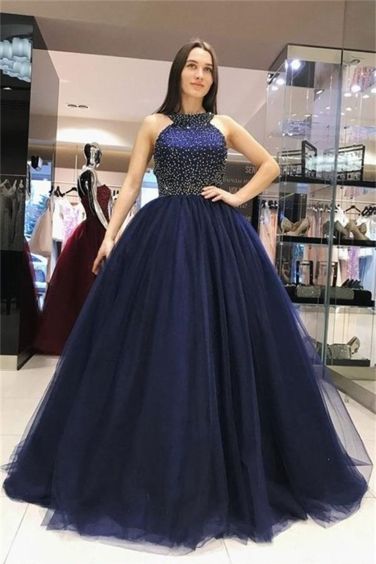 Ball Gown Long Navy Blue Beading Tulle Princess Prom Dresses Quinceanera Dresses