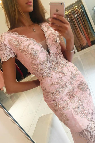 2019 V Neck Short Sleeves Prom Dresses Mermaid Lace With Applique And Beads