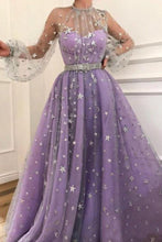 Load image into Gallery viewer, Prom Dress Long Sleeve Satin Lace A-Line Floor Length With Belt