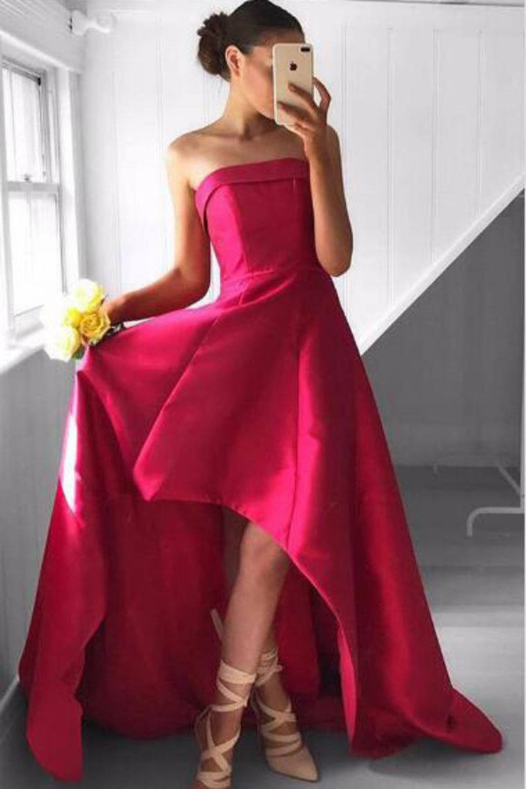 2019 A Line Strapless Prom Dresses Satin Asymmetrical Zipper Up
