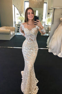 2019 Scoop Long Sleeves Lace Wedding Dresses With Beads Sweep Train
