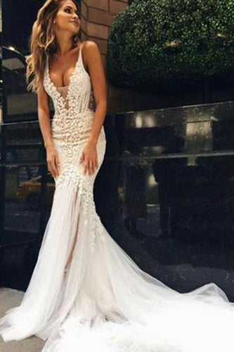 Luxurious Mermaid Long V-neck Wedding Dress with Open Back RS544