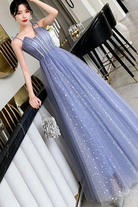 Unique Sparkle Straps Floor Length Tulle Prom Dress, A Line Sleeveless Evening Dresses