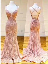 Load image into Gallery viewer, Mermaid Spaghetti Straps Pink Lace V Neck Beads Prom Dresses with SRS20426