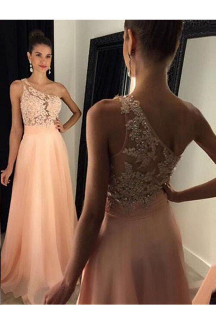 2019 Prom Dresses A Line One Shoulder With Applique Sweep Train Chiffon