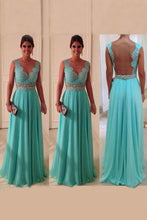 Load image into Gallery viewer, Scoop A Line Exquisite Chiffon Beading Prom Dresses With Applique