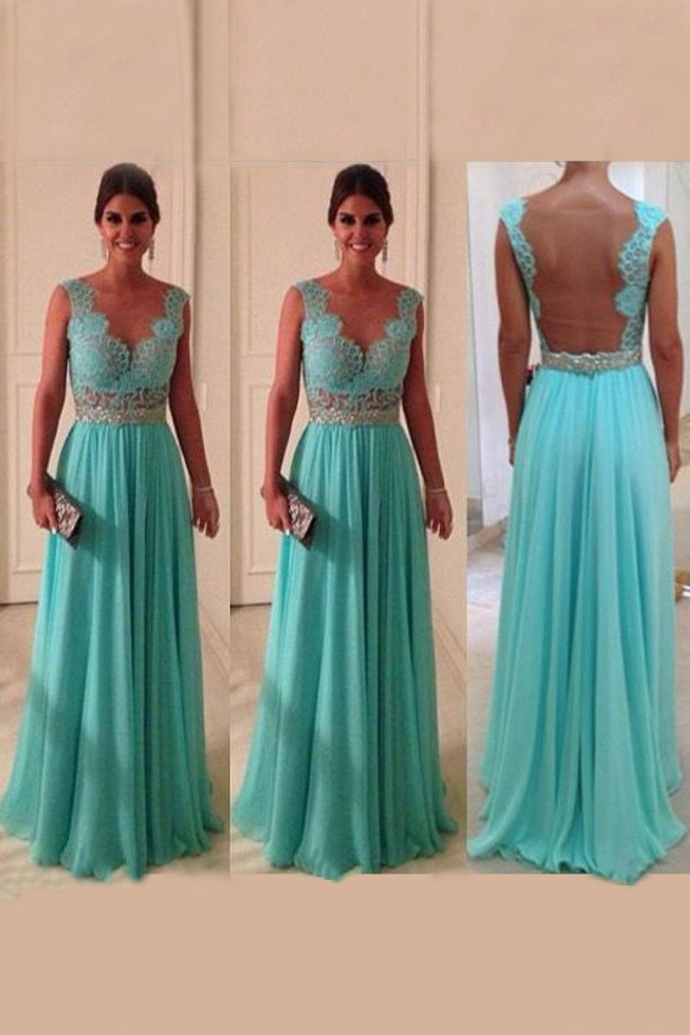 Scoop A Line Exquisite Chiffon Beading Prom Dresses With Applique