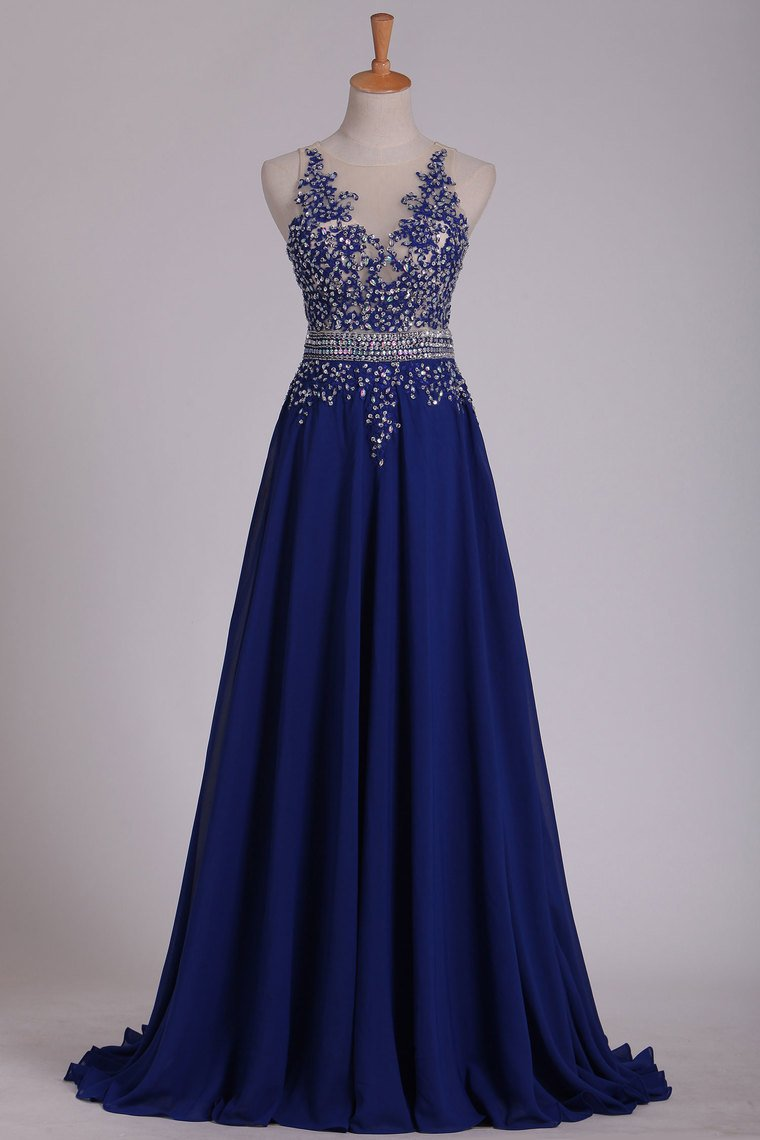 2019 Scoop Prom Dresses A Line With Applique & Beads Sweep Train Chiffon