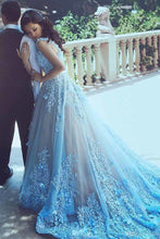 Load image into Gallery viewer, 2019 Straps Prom Dresses A Line Tulle With Handmade Flowers Sweep Train