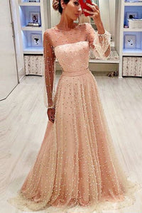 2020 A Line Round Neck Long Sleeves Champagne & Peach Pearls Long Prom Dresses