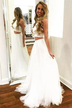 Load image into Gallery viewer, 2 Pieces Simple Flowy A-Line Ivory Long Open Back Prom Dresses For Teens