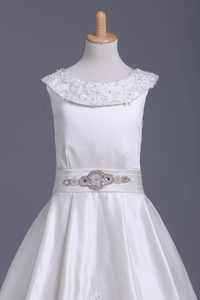 Ankle Length Scoop Flower Girl Dresses A Line Satin With Embroidery And Sash