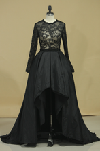 Load image into Gallery viewer, 2019 Asymmetrical Prom Dresses Scoop Taffeta  & Tulle Long Sleeves