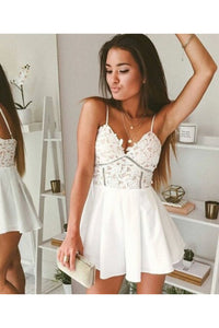 2019 Sexy Spaghetti Straps A Line Homecoming Dresses Chiffon Short/Mini