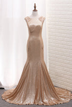 Load image into Gallery viewer, 2019 Scoop Mermaid Sequins Prom Dresses With Beads Sweep Train