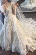 Load image into Gallery viewer, 2019 New Arrival V Neck Tulle With Applique Court Train Wedding Dresses