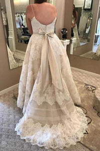 Plus Sizes Ivory Lace Open Back Long Modest Wedding Dresses Bridal Dresses