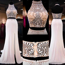 Load image into Gallery viewer, 2019 Two Pieces Mermaid Long Halter Beaded Custom Cheap With Slit Prom Dresses RS145