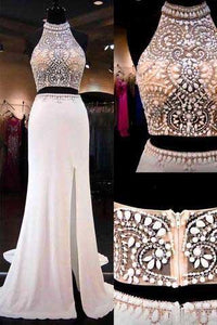 2019 Two Pieces Mermaid Long Halter Beaded Custom Cheap With Slit Prom Dresses RS145