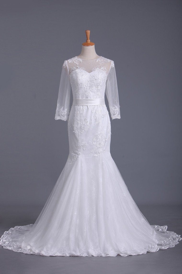 2019 Scoop 3/4 Length Sleeve Mermaid Wedding Dress Tulle With Sash Court Train