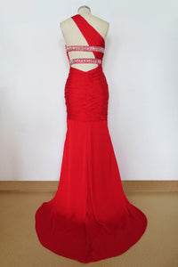 Elegant Prom Dresses 2019 Red Sheath/Column One Shoulder Chiffon Sweep/Brush Train