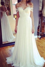 Load image into Gallery viewer, Off The Shoulder Flowy Long Ivory Lace Chiffon Beach Wedding Dresses