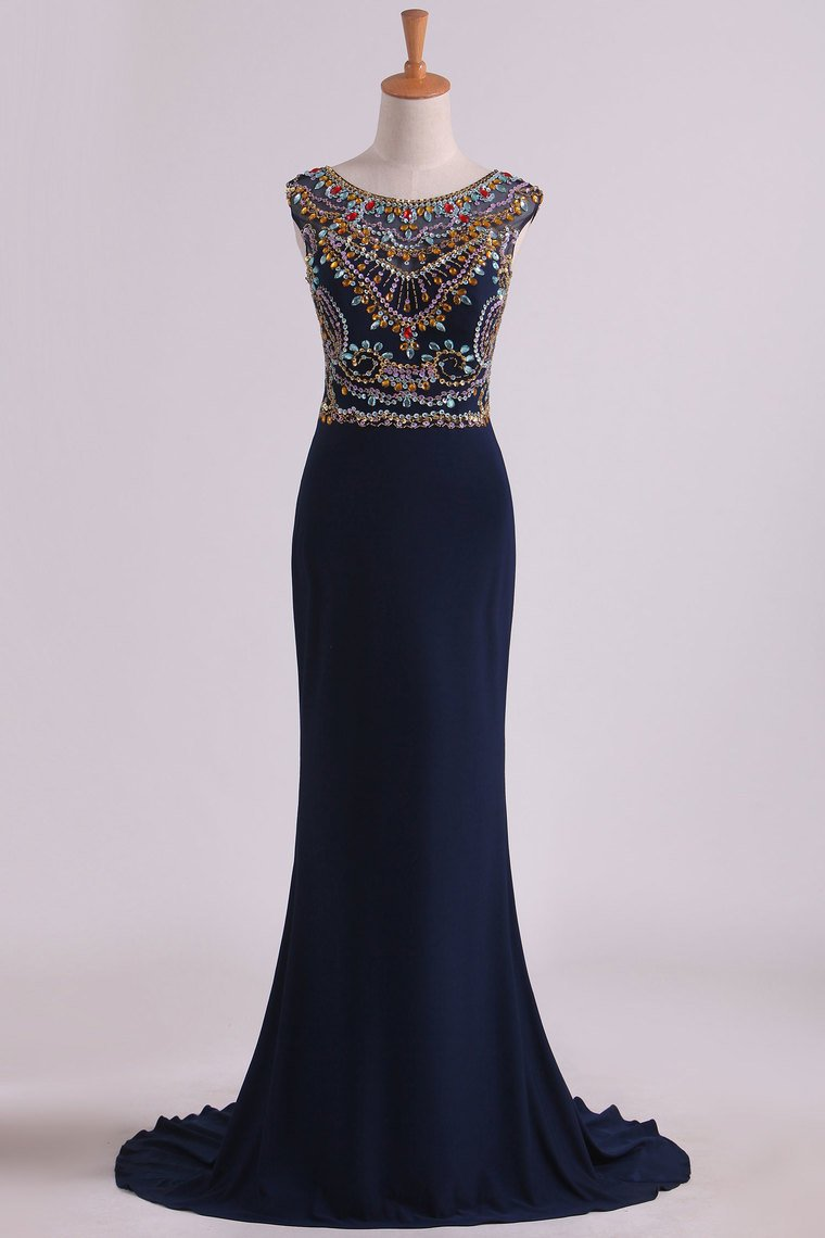 2019 Prom Dresses Sexy Open Back Bateau Beaded Bodice Mermaid Spandex
