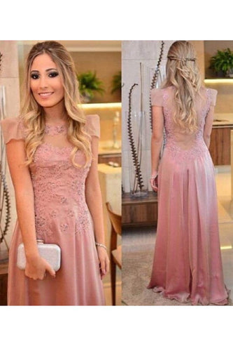 2019 Chiffon Scoop Short Sleeves Prom Dresses Sweep Train With Applique