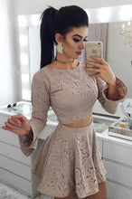 Load image into Gallery viewer, Two Piece A-Line Long Sleeves Lace Short Homecoming Dress