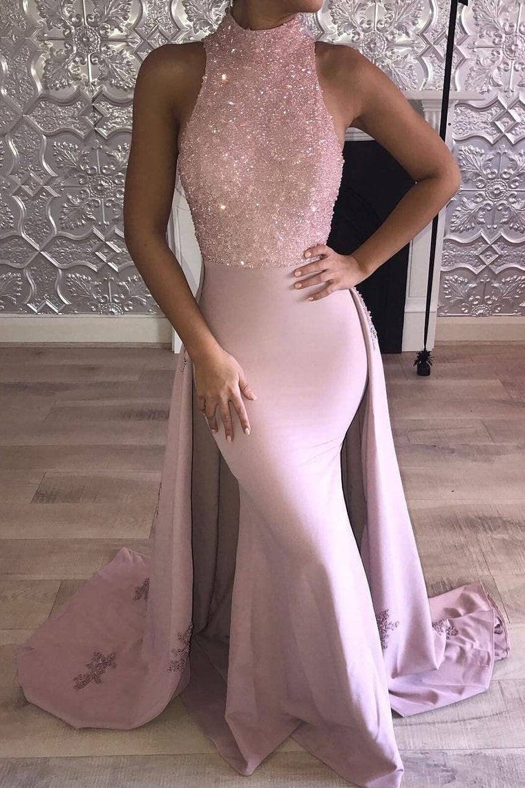 2019 High Neck Satin Mermaid Prom Dresses With Beading Sweep Train
