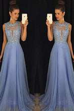 Load image into Gallery viewer, A-Line Round Neck Lace Chiffon Tulle Ball Gown Beading Evening Dress