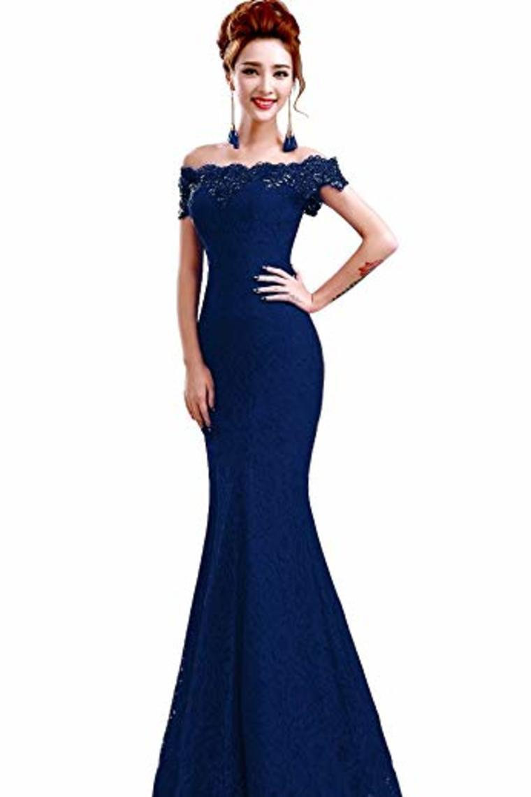 Elegant Lace Prom Dresses Mermaid Lace Up Back Floor Length