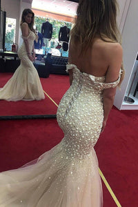 2019 Off The Shoulder Prom Dresses Mermaid Tulle With Beads Lace Up