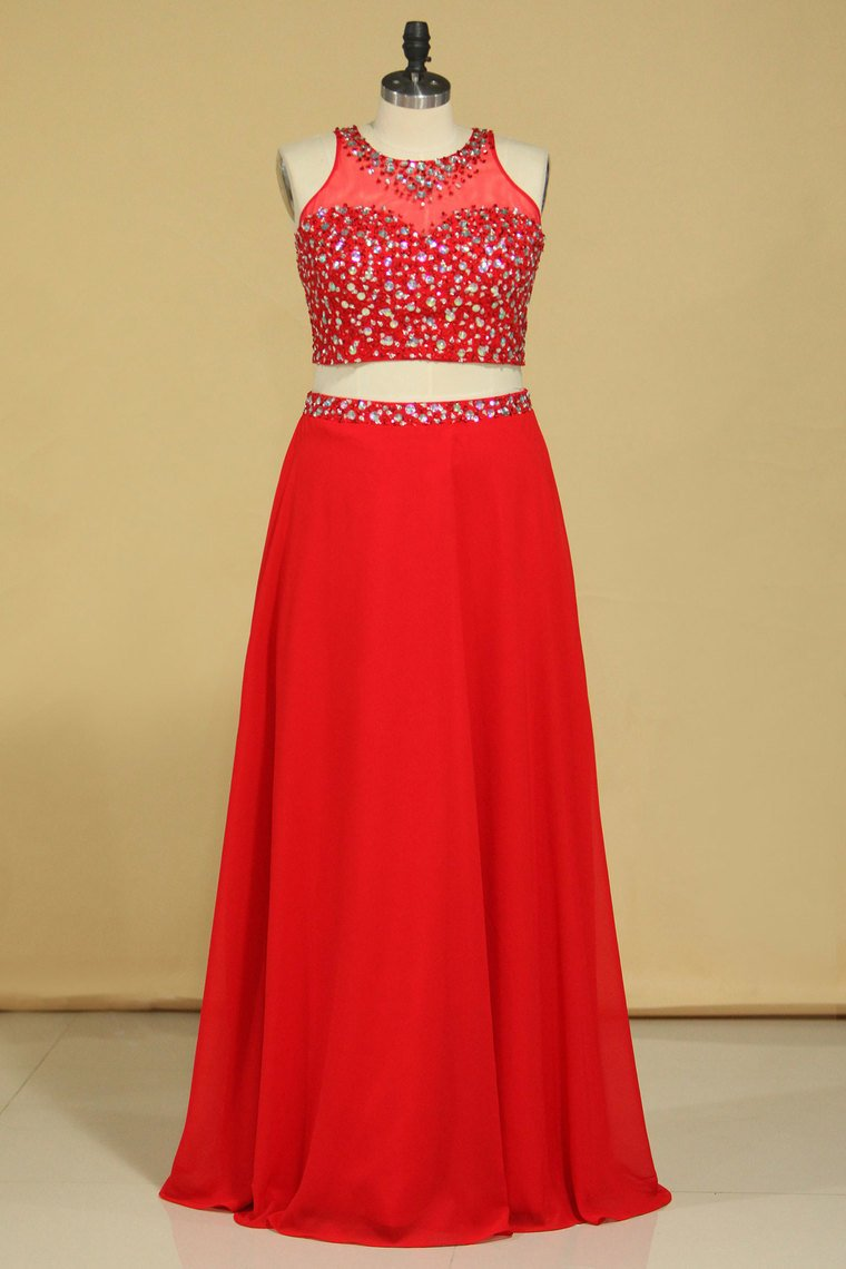 2019 Red Scoop Two Pieces A Line Prom Dresses Beaded Bodice Open Back Chiffon & Tulle