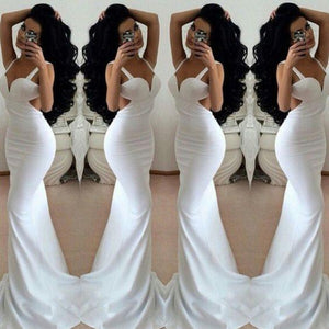 White Prom Dresses 2019 Long Trumpet/Mermaid Straps Chiffon Prom Dresses RS668