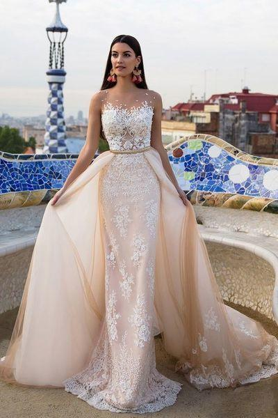 Lace prom dresses Elegant modest wedding dresses RS245