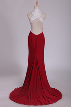 Load image into Gallery viewer, 2019 High Neck Sheath Spandex Prom Dresses With Applique And Beads Open Back