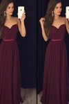 Vestido de Festa Burgundy Simple Chiffon Long Prom Dresses Sweetheart Prom Dresses RS756