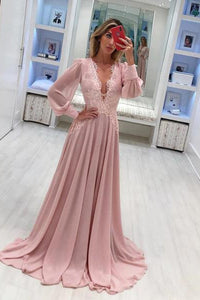 2019 Dusty Rose V-Neck Lace Prom Dresses Long Sleeve Prom Dresses Evening Dress